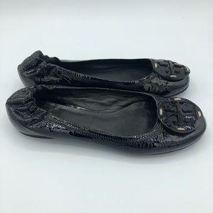 Tory Burch Reva Patent Ballet Flats Black Size 5